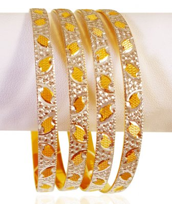 22KT Gold Rhodium Bangles (4 Pcs) ( Two Tone Bangles )