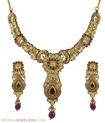 Antique Kundan Necklace Set ( Antique Necklace Sets )