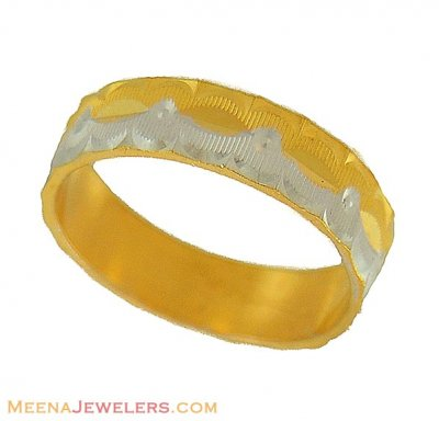 Two Tone Wedding Band (22Kt Gold) ( Wedding Bands )