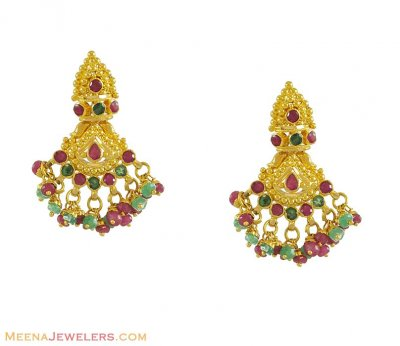 22K Gold Earrings with Precious Stones ( Precious Stone Earrings )