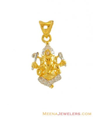 22k Two Tone Ganpati Pendant ( Ganesh, Laxmi and other God Pendants )
