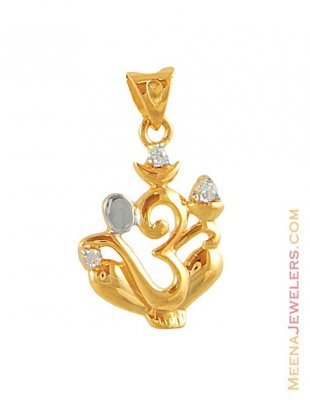 Gold Lord Ganesh and OM Pendant ( Ganesh, Laxmi and other God Pendants )