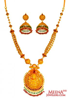 22 Kt Gold Temple Necklace Set  ( Antique Necklace Sets )