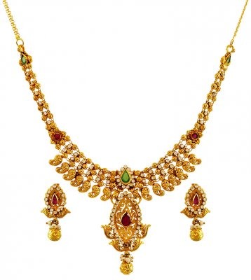 22K Gold Necklace Set ( Antique Necklace Sets )