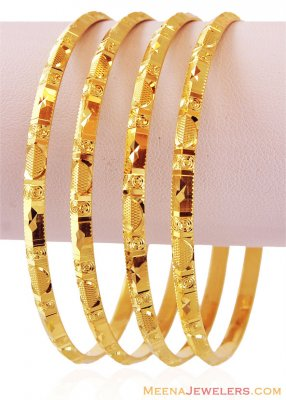Gold Machine Bangles (4 PC) ( Set of Bangles )