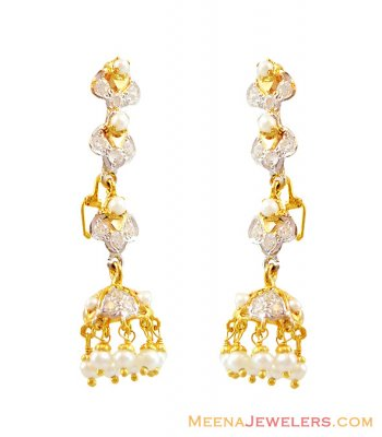 Pearl Short Earrings 22k  ( Precious Stone Earrings )