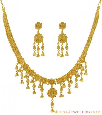 Indian Gold Necklace Set ( 22 Kt Gold Sets )