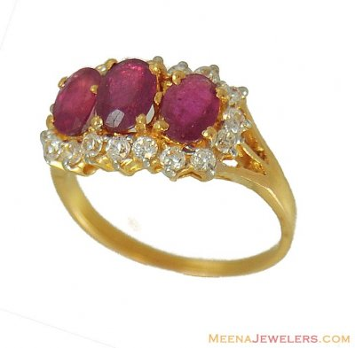 22kt Ruby Ring ( Ladies Rings with Precious Stones )