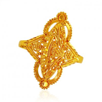 22K Gold Filigree Ladies Ring  ( Ladies Gold Ring )