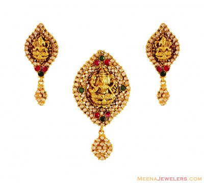 22K Laxmi Jee Pendant Set ( Antique Pendant Sets )
