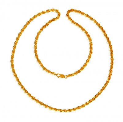 22Kt Gold Rope Chain 24In ( Men`s Gold Chains )