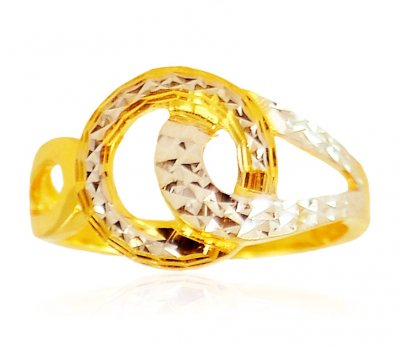 22 Kt Gold Two Tone Ring ( Ladies Gold Ring )
