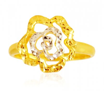 Two Tone 22 Karat Gold Ring ( Ladies Gold Ring )