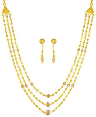 22k Gold 3 Layered Necklace Set ( Light Sets )