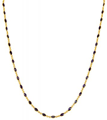 22K Gold Sapphire Chain ( 22Kt Gold Fancy Chains )
