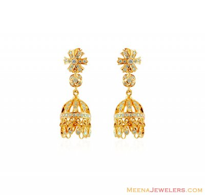 18kt Diamond Fancy Jhumki ( Diamond Earrings )