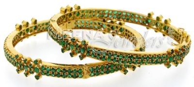 22 Kt Gold Bangles with Emerald Stones ( Precious Stone Bangles )