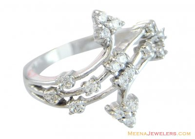 18K White Gold Fancy Ladies ring ( Ladies White Gold Rings )