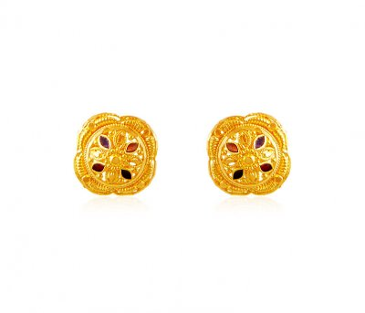 22k Meenakari Earrings ( 22 Kt Gold Tops )