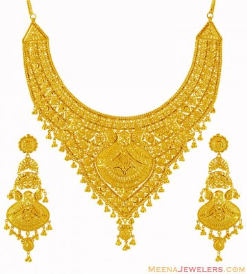 Traditional 22K Bridal Necklace Set ( Bridal Necklace Sets )
