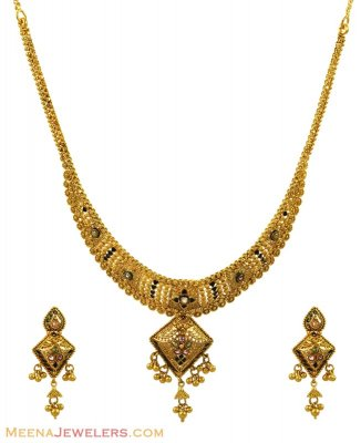 22K Antique Gold Meenakari Set ( Antique Necklace Sets )