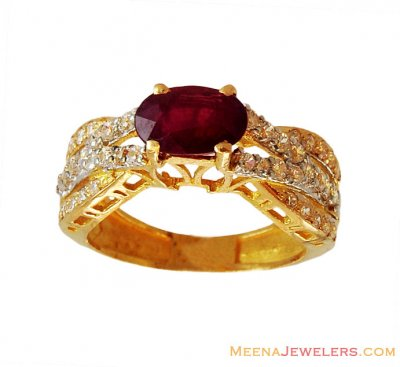 22K Two Tone Ruby Ring  ( Ladies Rings with Precious Stones )