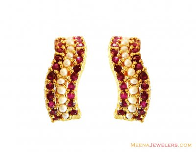 22K Ruby and Pearls Clip On Earring ( Precious Stone Earrings )