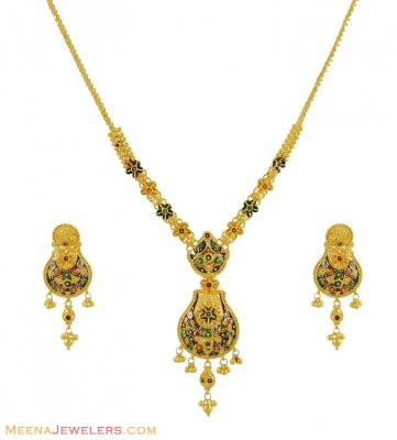 22K Meenakari Necklace Set ( 22 Kt Gold Sets )