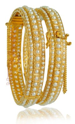 22Kt Gold Bangle with Pearls ( Precious Stone Bangles )