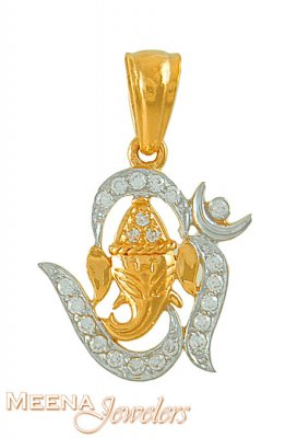 22kt OM pendant with Ganesh ( Ganesh, Laxmi and other God Pendants )