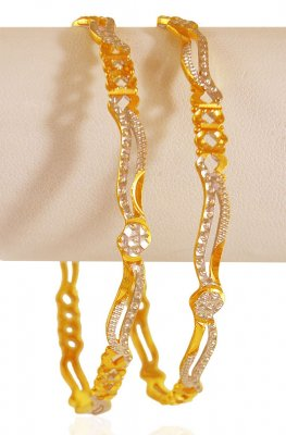 22kGold Two Tone Bangle (2 pc) ( Gold Bangles )