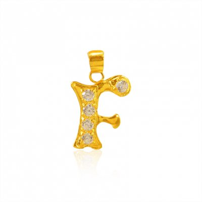 22Kt Gold Pendant with Initial(F) ( Initial Pendants )