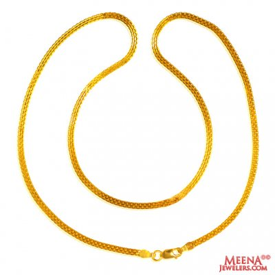 22 Kt Gold Chain 18 In ( Plain Gold Chains )