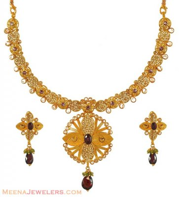 22k Antique finish necklace set ( Antique Necklace Sets )