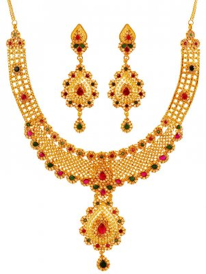 22k Gold DesignerNecklace Set ( Antique Necklace Sets )