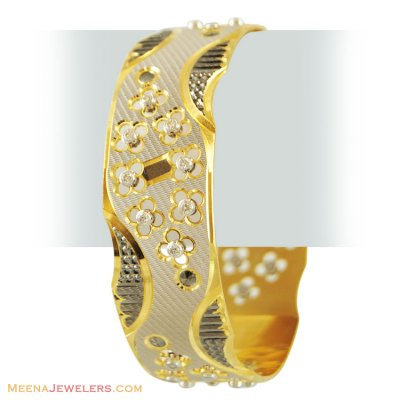 22k Stones Laser Bangle (1 Pc) ( Two Tone Bangles )