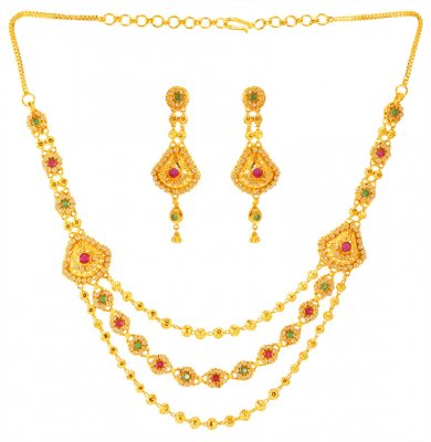 22K Gold Layered Necklace Set ( Precious Stone Sets )