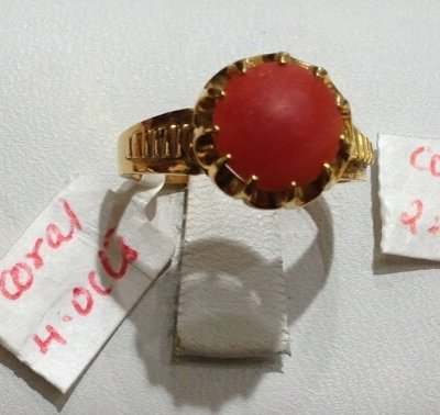 Coral Birthstone Ring (22Kt) ( Astrological BirthStone Rings )