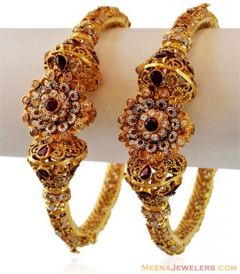 22K Authentic Antique Kada(2 Pc) ( Antique Bangles )
