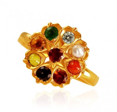 22Kt Gold Ladies Navaratan Ring ( Diamond Rings )