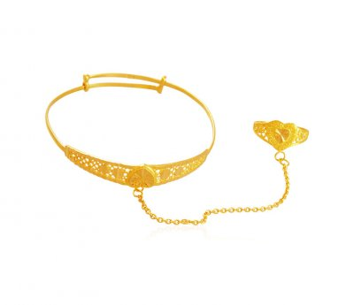 Fancy Kada with Ring 22k Gold ( Baby Bangles )