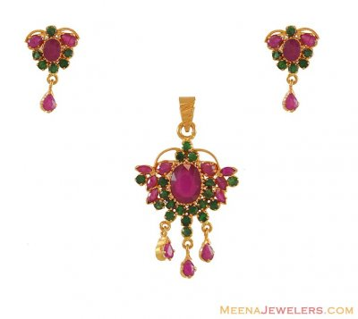 Emerald and Ruby pendant set ( Precious Stone Pendant Sets )