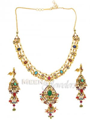 22 Kt Antique Gold Necklace Set ( Antique Necklace Sets )