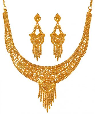 22karat Gold Necklace Earring Set ( Light Sets )