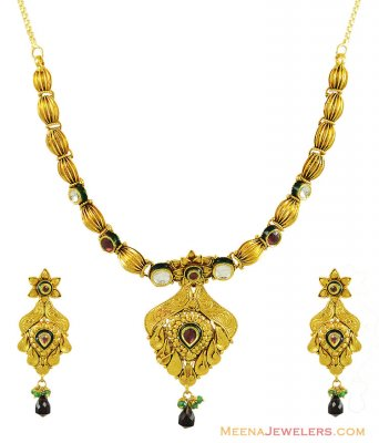22K Antique Kundan Necklace Set ( Antique Necklace Sets )