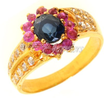22kt Gold Ring with Sapphire, Ruby, CZ ( Ladies Rings with Precious Stones )