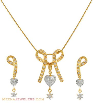 Signity Two Tone Pendant Set ( Fancy Pendant Set )
