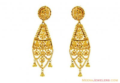 22k Gold Filigree Earrings  ( 22Kt Gold Fancy Earrings )