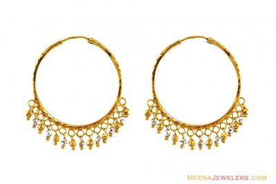 22k Fancy Two Tone Bali ( Hoop Earrings )
