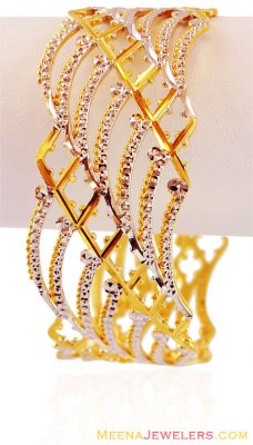 22K Two Tone Wide Bangle(1 Pc) ( Two Tone Bangles )
